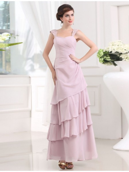 Sleeveless Straps Ankle-Length Pearl Pink Dresses