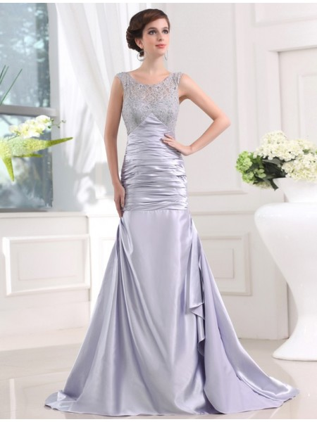 Sleeveless Scoop Sweep/Brush Train Silver Dresses