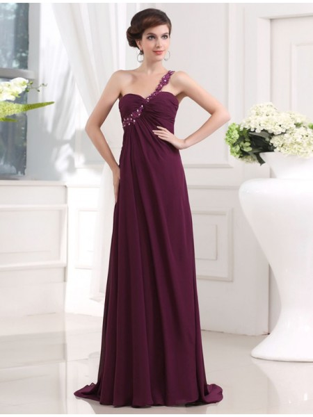 Sleeveless One-Shoulder Sweep/Brush Train Burgundy Dresses
