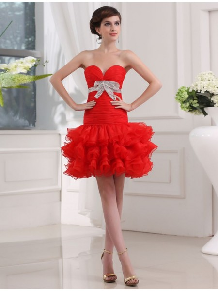 Sleeveless Sweetheart Short Red Dresses