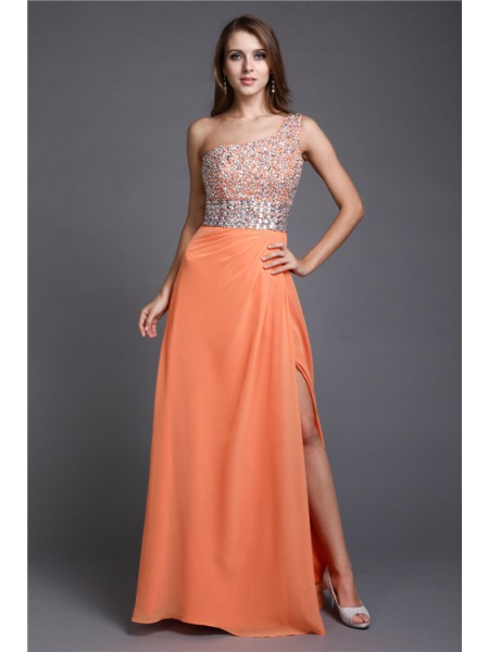 Sleeveless One-Shoulder Long Orange Dresses