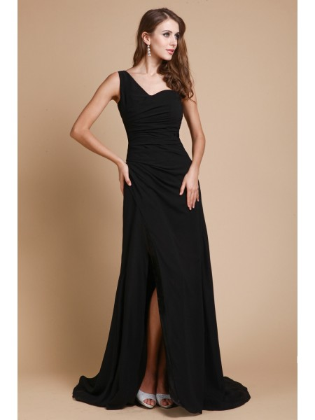 Sleeveless One-Shoulder Sweep/Brush Train Black Dresses