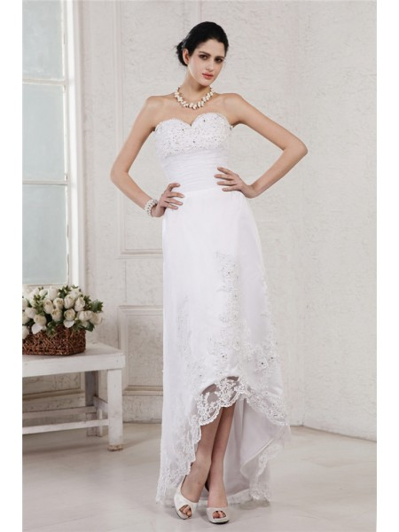 Sleeveless Sweetheart Asymmetrical White Wedding Dresses
