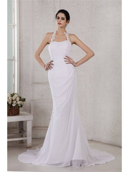 Sleeveless Halter Court Train White Wedding Dresses