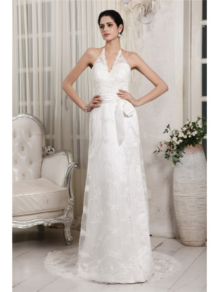 Sleeveless V-neck Sweep/Brush Train White Wedding Dresses