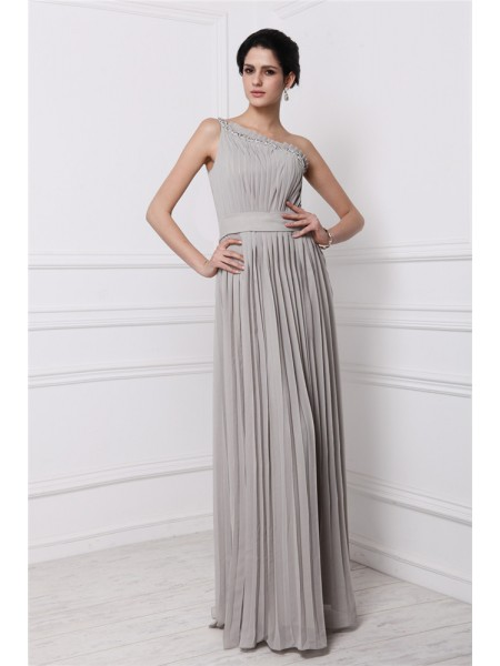 Sleeveless One-Shoulder Long Grey Dresses