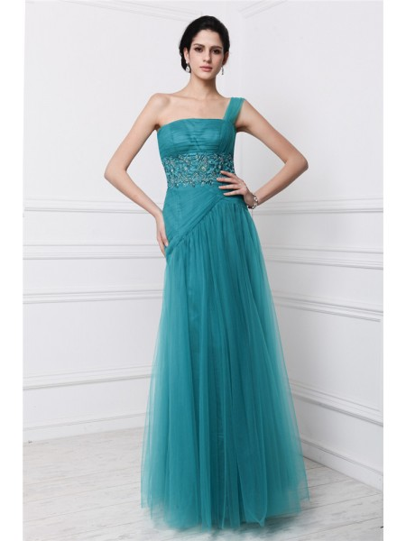 Sleeveless One-Shoulder Long Hunter Green Dresses
