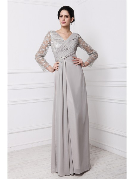 Long Sleeves V-neck Long Grey Dresses