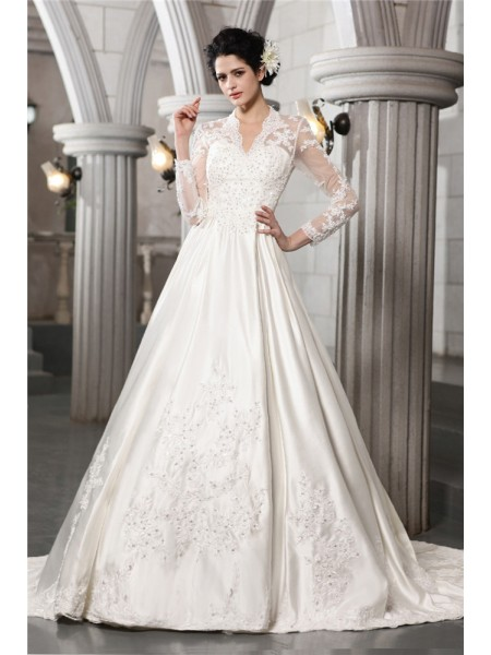 Long Sleeves V-neck Chapel Train White Wedding Dresses