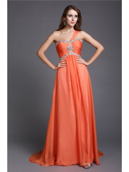 Sleeveless One-Shoulder Sweep/Brush Train Orange Dresses