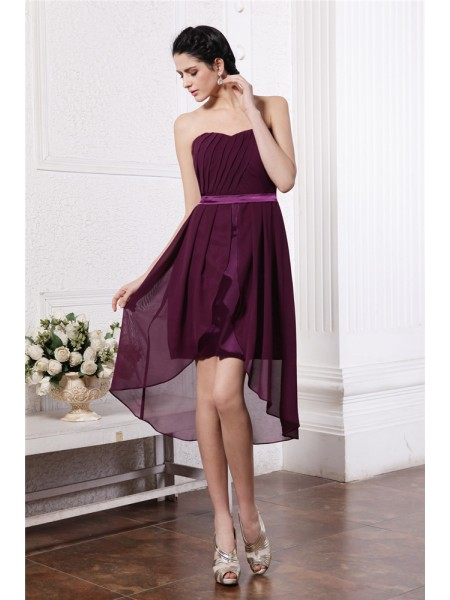 Sleeveless Strapless Asymmetrical Burgundy Dresses