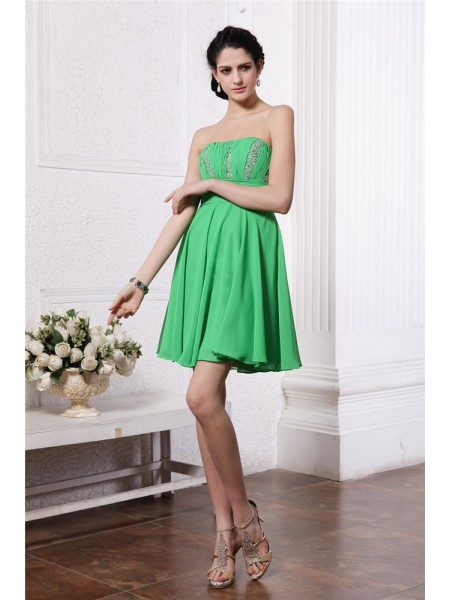 Sleeveless Strapless Short Green Dresses