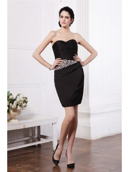 Sleeveless Sweetheart Short Black Dresses