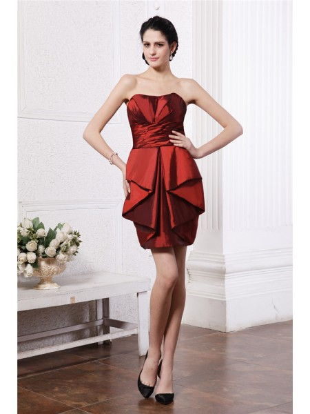 Sleeveless Strapless Short Burgundy Dresses
