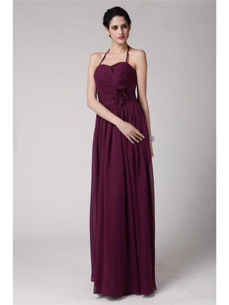 Sleeveless Halter Long Burgundy Bridesmaid Dresses