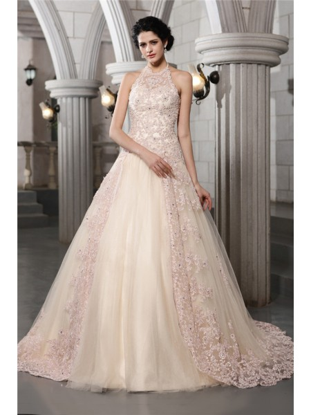 Sleeveless High Neck Chapel Train Champagne Wedding Dresses