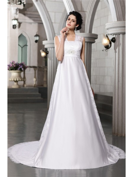 Sleeveless Straps Cathedral Train White Wedding Dresses