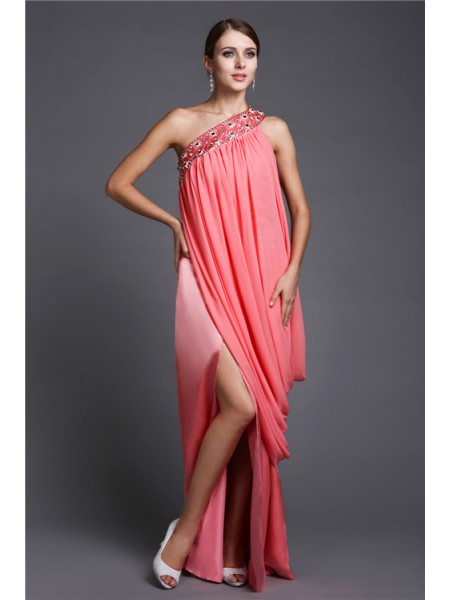 Sleeveless One-Shoulder Long Pearl Pink Dresses
