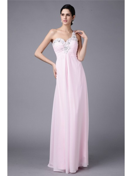 Sleeveless One-Shoulder Long Pink Dresses