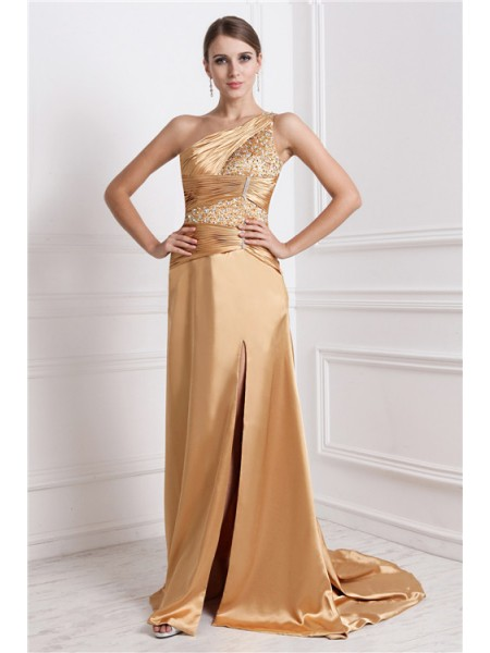 Sleeveless One-Shoulder Sweep/Brush Train Gold Dresses