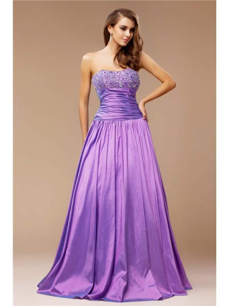 Sleeveless Strapless Long Lavender Dresses