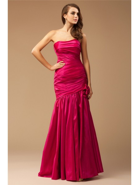 Sleeveless Strapless Long Fuchsia Dresses