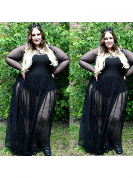 Long Sleeves Sheer Neck Long Plus Size Black Dresses