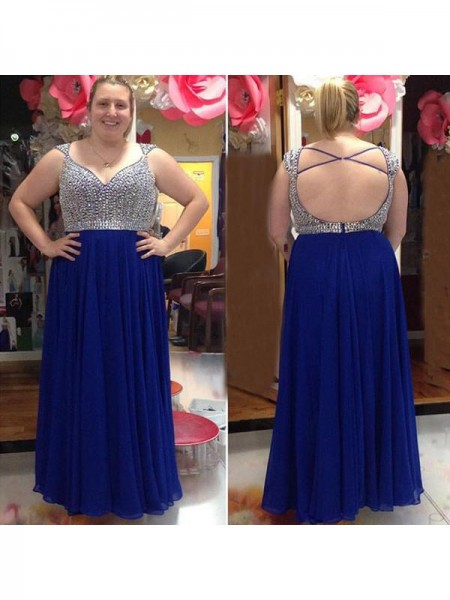 Sleeveless Straps Long Plus Size Blue Dresses