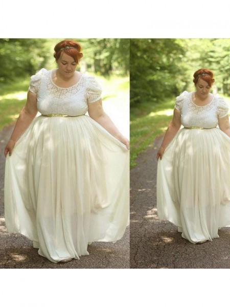 Short Sleeves Scoop Long Plus Size Ivory Dresses