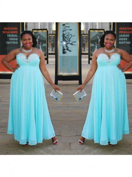 Sleeveless Sweetheart Long Plus Size Blue Dresses