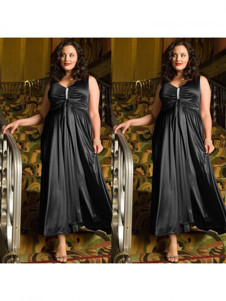 Sleeveless V-neck Ankle-Length Plus Size Black Dresses