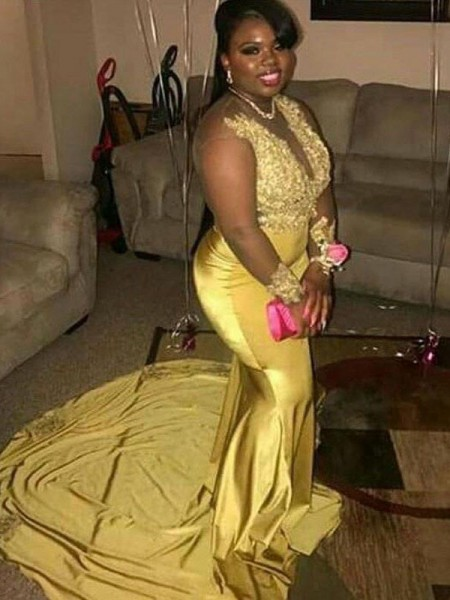 Sleeveless V-neck Court Train Plus Size Gold Dresses