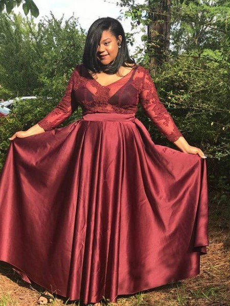 3/4 Sleeves V-neck Long Plus Size Burgundy Dresses