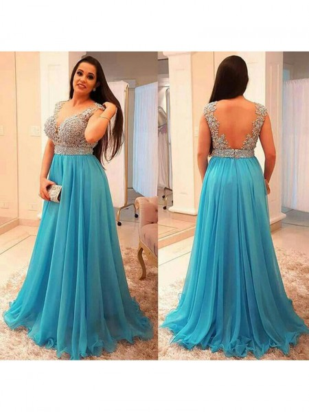 Sleeveless V-neck Sweep/Brush Train Plus Size Blue Dresses