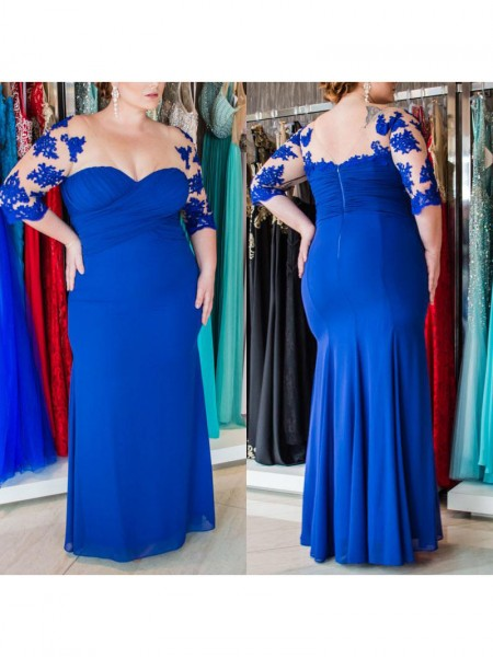 1/2 Sleeves Sweetheart Long Plus Size Royal Blue Dresses