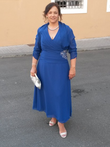 Sleeveless V-neck Ankle-Length Plus Size Royal Blue Mother of the Bride Dresses