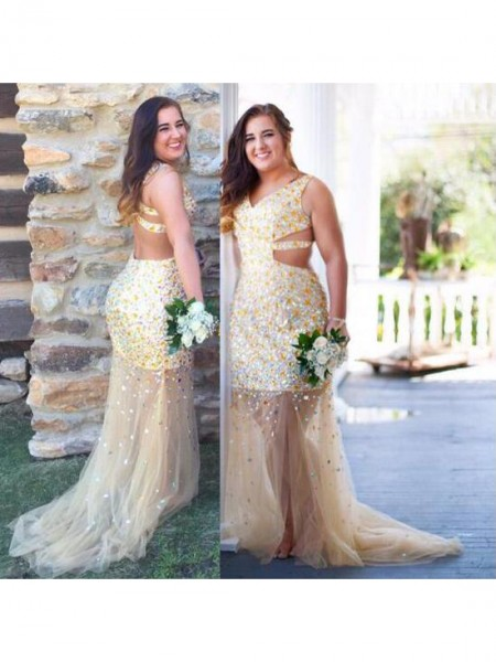 Sleeveless V-neck Sweep/Brush Train Plus Size Champagne Dresses