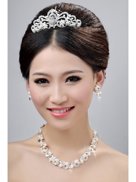 New Style Nice Alloy Clear Crystals Pearls Wedding Headpieces Necklaces Earrings Set