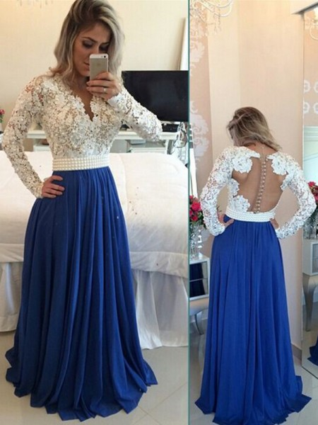 A-Line/Princess Long Sleeves V-neck Floor-Length Royal Blue Chiffon Prom Dresses