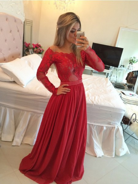 A-Line/Princess Long Sleeves Off-the-Shoulder Sweep Train Red Chiffon Prom Dresses