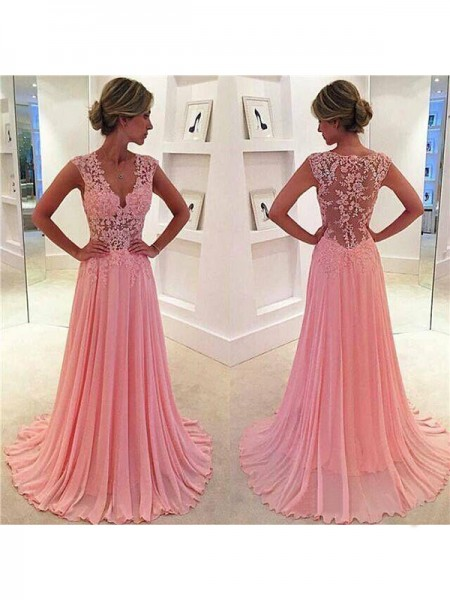 A-Line/Princess Sleeveless V-neck Sweep Train Pink Chiffon Prom Dresses