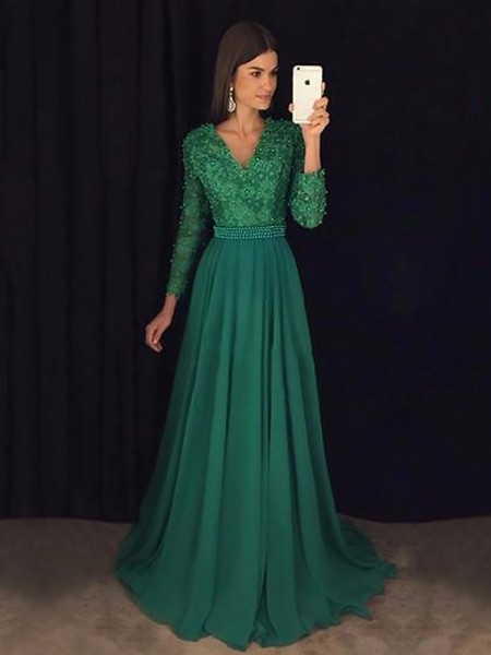 A-Line/Princess Long Sleeves V-Neck Sweep Train Dark Green Chiffon Prom Dresses
