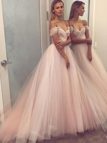 A-Line/Princess Sleeveless Off-the-Shoulder Sweep Train Pink Tulle Prom Dresses