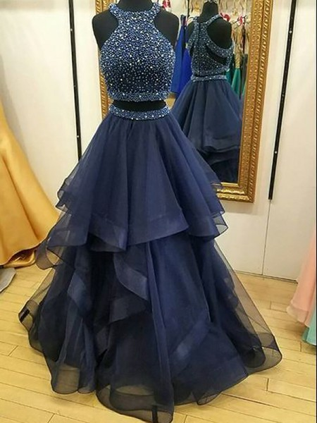A-Line/Princess Sleeveless Halter Long Dark Navy Net Prom Dresses
