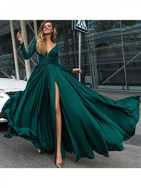 A-Line/Princess Long Sleeves V-Neck Floor-Length Dark Green Satin Prom Dresses