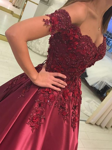 Ball Gown Sleeveless Off-the-Shoulder Long Burgundy Satin Prom Dresses