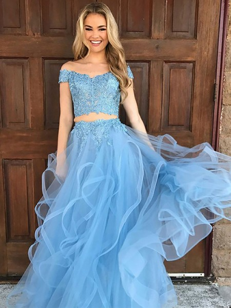 A-Line/Princess Sleeveless Off-the-Shoulder Long Blue Tulle Prom Dresses