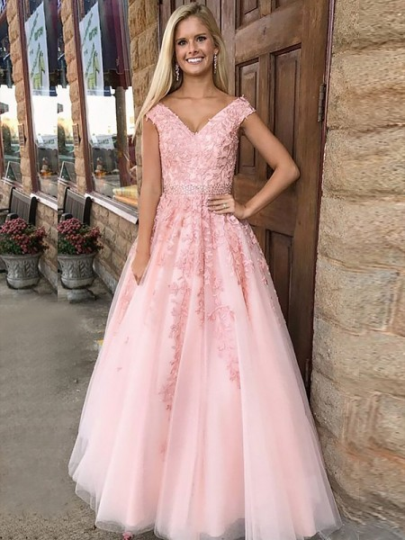 A-Line/Princess Sleeveless V-Neck Long Pink Tulle Prom Dresses