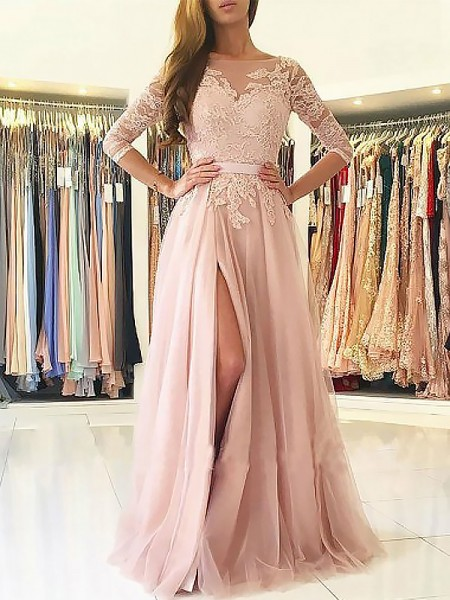 A-Line/Princess 3/4 Sleeves Bateau Long Pink Tulle Prom Dresses