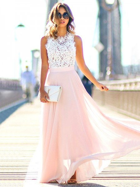 A-Line/Princess Sleeveless Jewel Long Pearl Pink Chiffon Prom Dresses